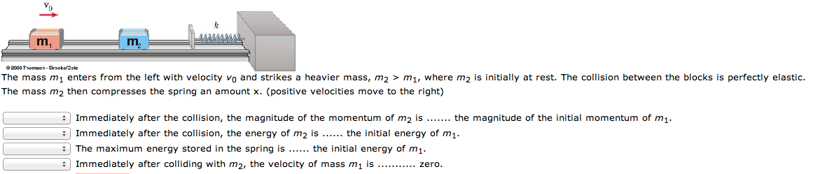 The mass m1 enters from the left with velocity v0