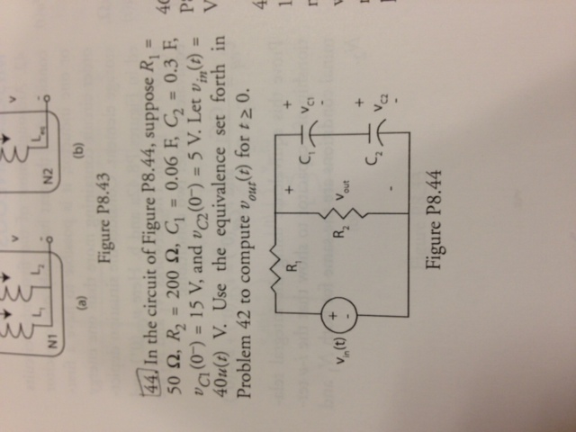 In The circuit of Figure P8.44, suppose R1 = 50 oh