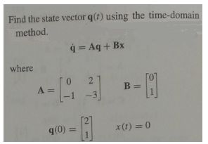 Find the state vector q(t) using the time-domain m
