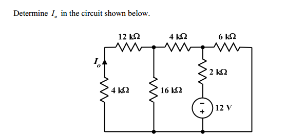 Determine I0 in the circuit shown below.