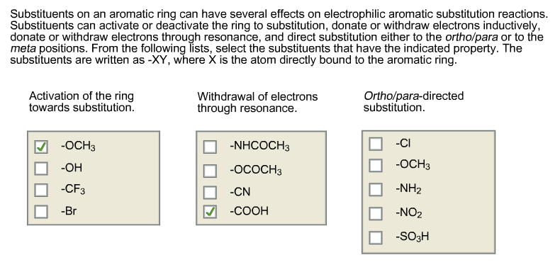 Substituents on an aromatic ring can have several