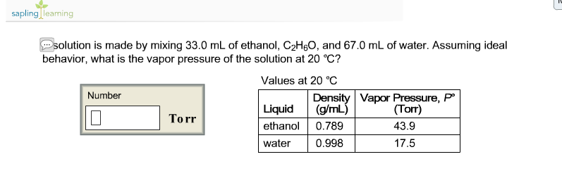 What is the vapor pressure of ethanol?