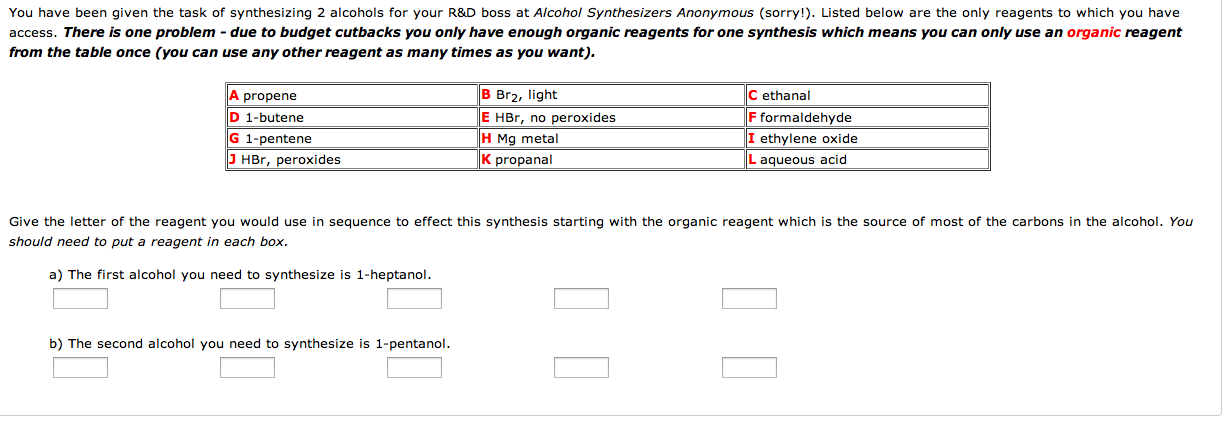 You have been given the task of synthesizing 2 alc