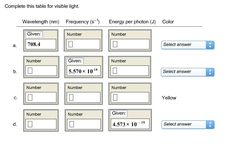 text complete this table for visible light