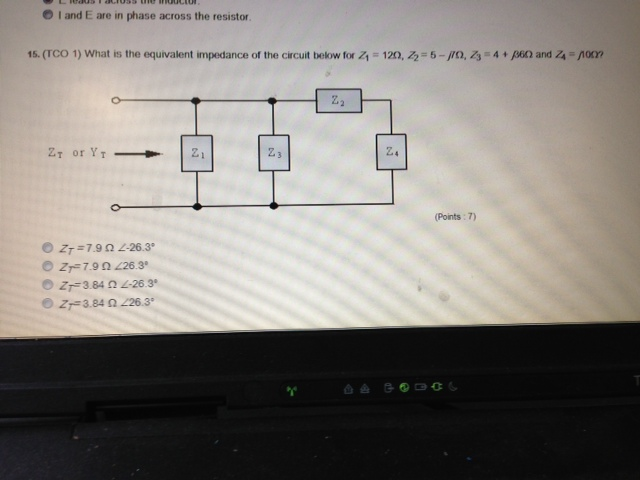 (TCO 1) What is the equivalent admittance of the c