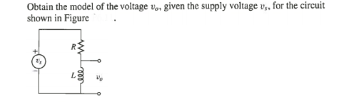Obtain the model of the voltage vo, given the supp