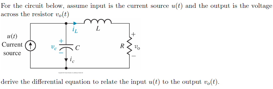 For the circuit below, assume input is the current