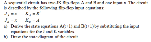 A sequential circuit has two JK flip-flops A and B
