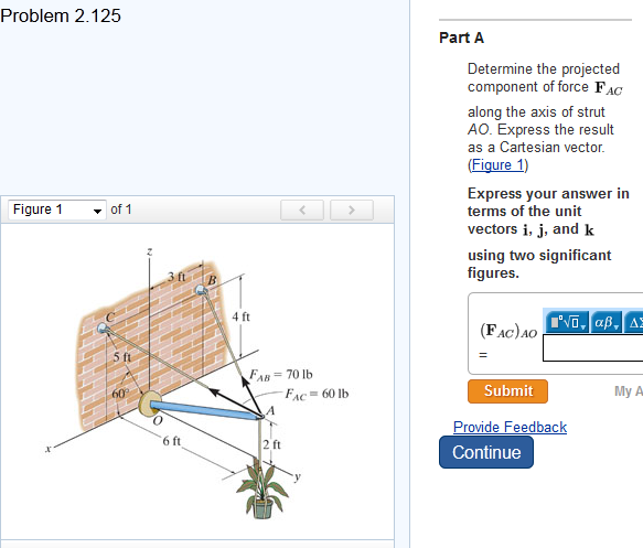 Determine the projected component of force F AG al