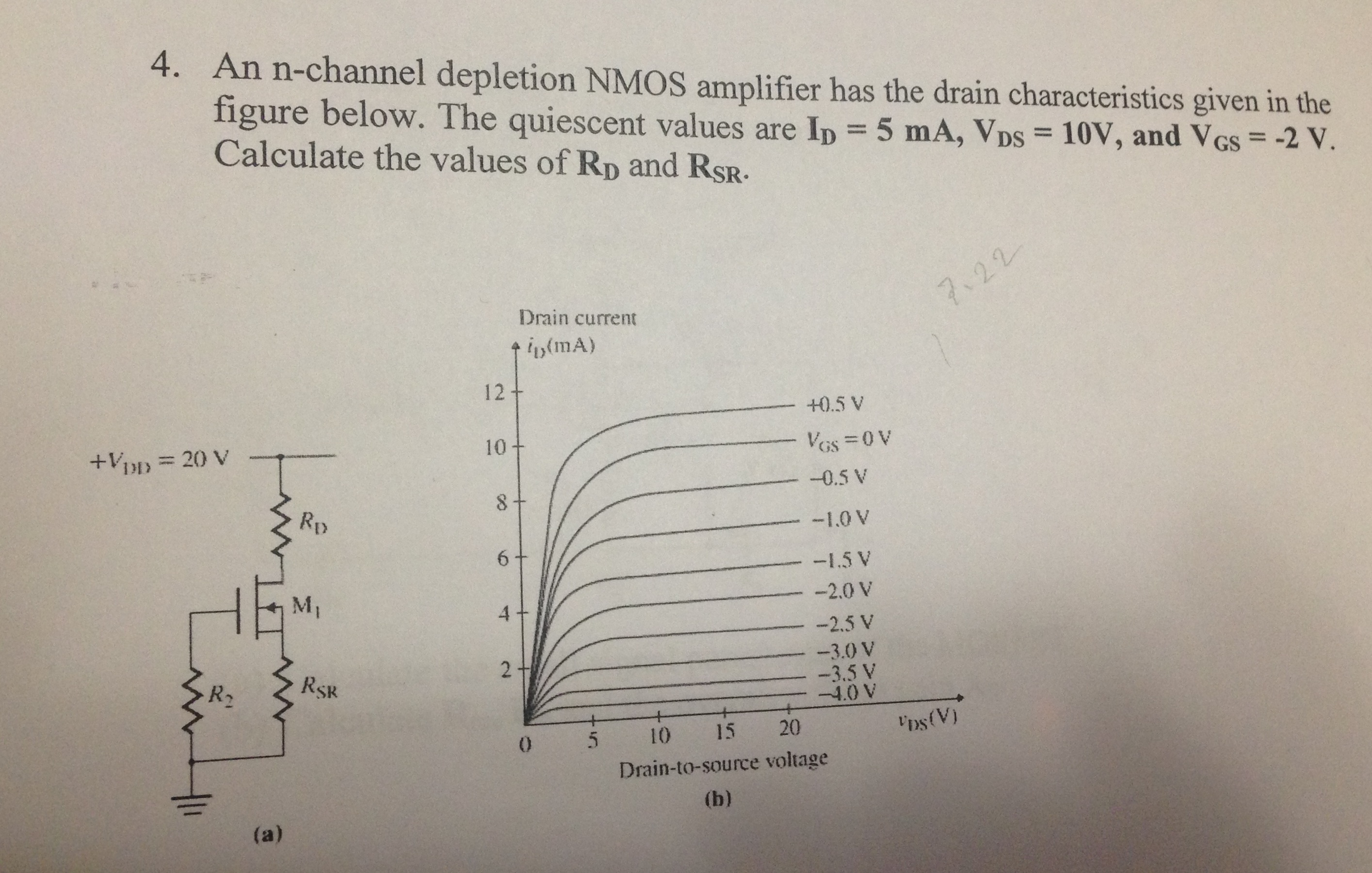 An n-channel depletion NMOS amplifier has the drai
