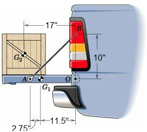 Image for A 105-lb crate rests on the 65-lb pickup tailgate. Calculate the tension T in each of the two restraining cabl