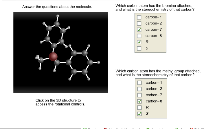 Answer the questions about the molecule. Click on