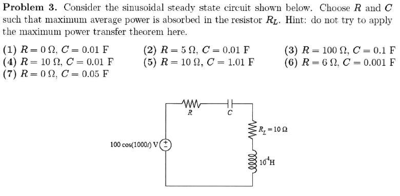 Consider the sinusoidal steady state circuit shown