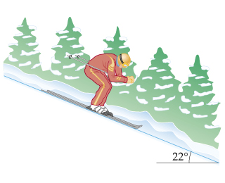 A 62-kg skier speeds down a trail, as shown in the