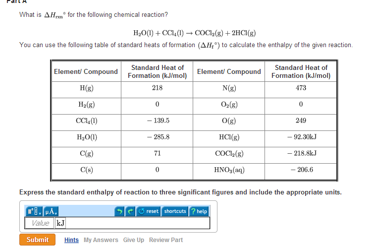 What is delta hrxn theta for the following chemica for Delta h table chemistry