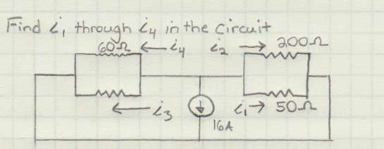 Find i1 through i4 in the circuit