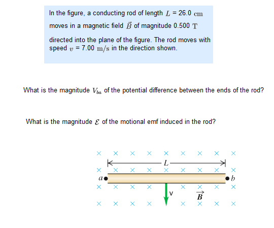 In the figure, a conducting rod of length L = 26.0