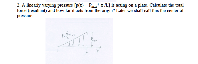 A linearly varying pressure [p(x) = Pmax* x /L] is