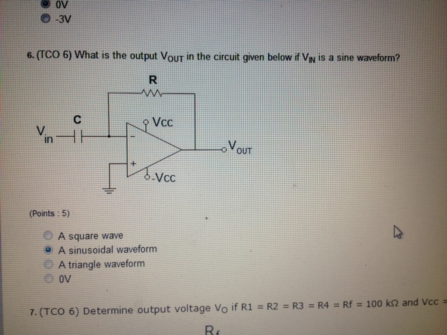 (TCO 6) What is the output V0UT in the circuit giv