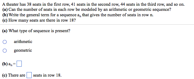 A theater has 38 seats in the first row, 41 seats