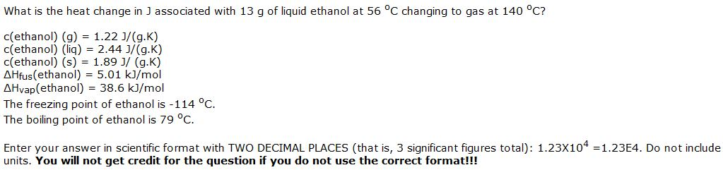 What is the heat change in J associated with 13 g