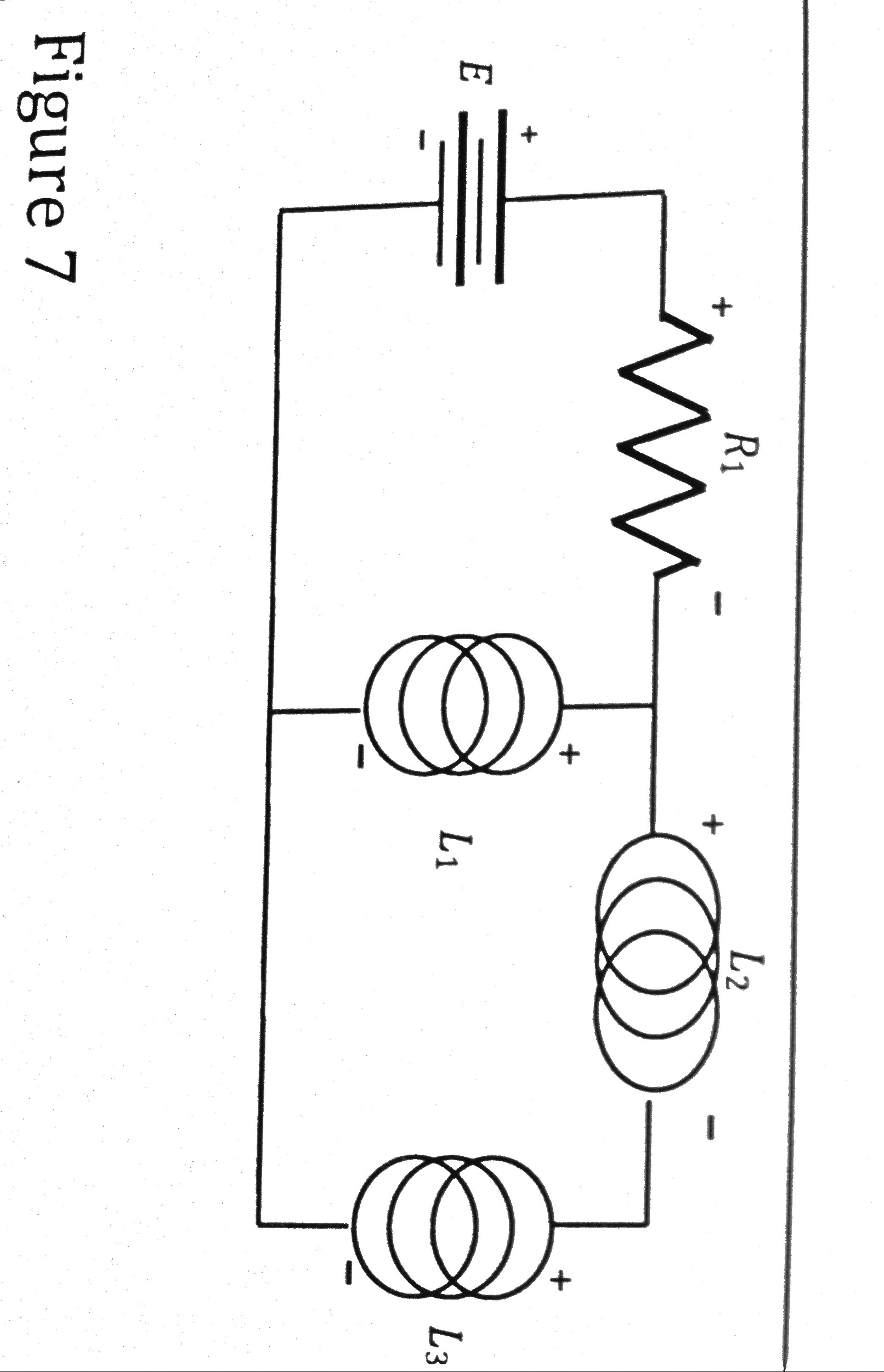 In figure 7, E = +10V, R1 = 2 Ohms, L1 = 2H, and L