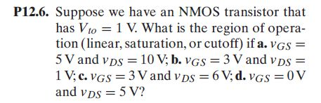 Suppose we have an NMOS transistor that has Vto =