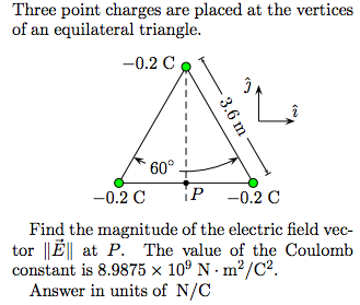 Three point charges are placed at the vertices of
