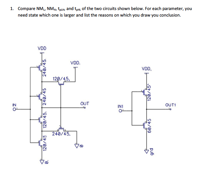 Compare NM0 NMH/tpLH, and tpHi of the two circuits