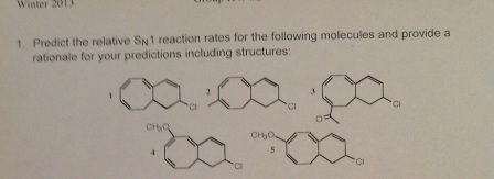 Predict the relative SN1 reaction rates for the fo