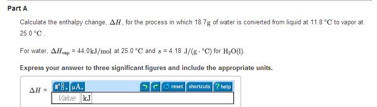 Calculate the enthalpy change, , for the process i