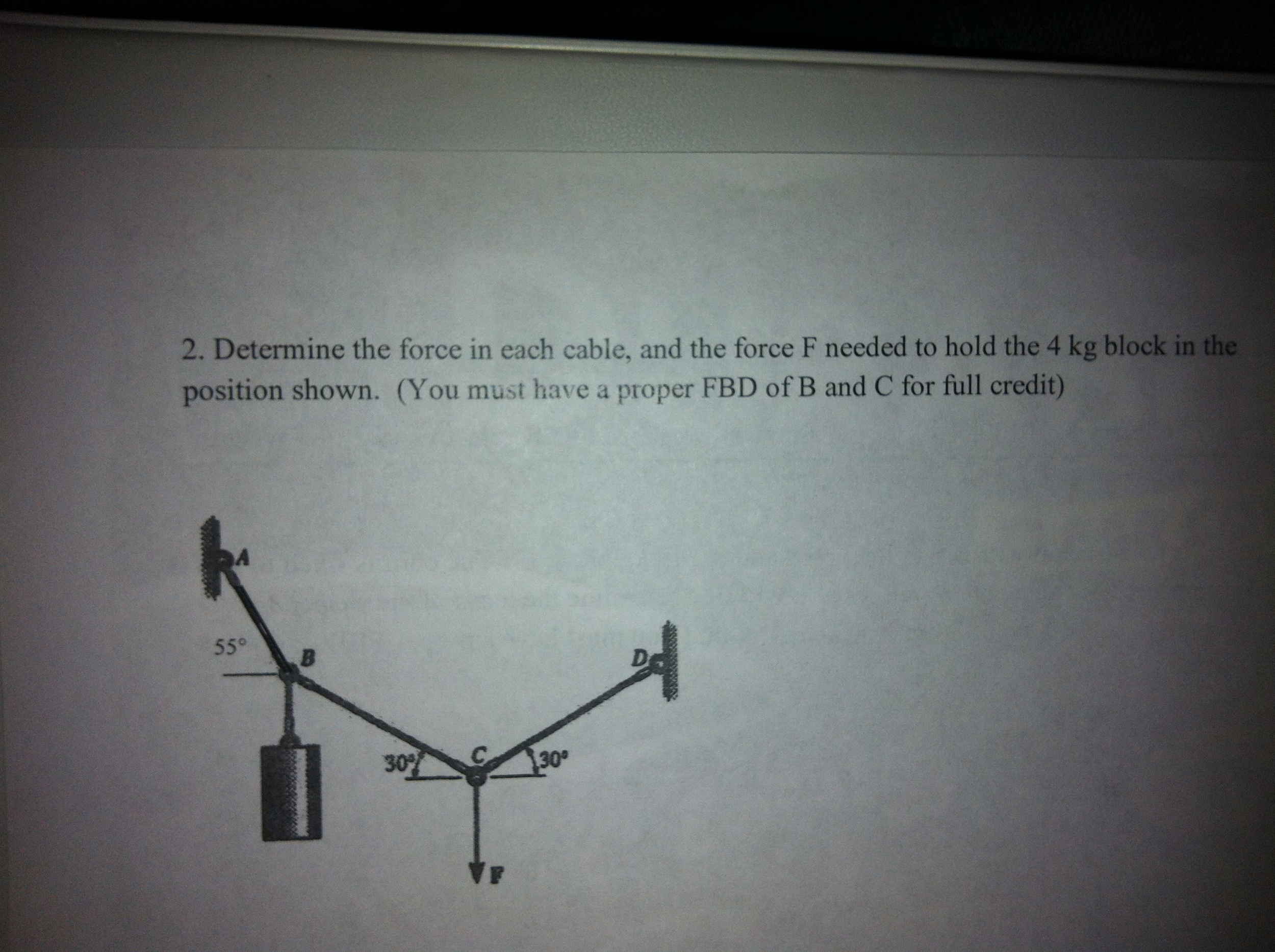 Determine the force in each cable, and the force F