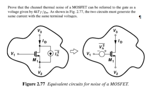 Prove that the channel thermal noise of a MOSFET c