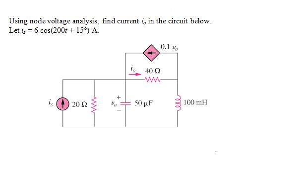 Using node voltage analysis, find current i0 in th