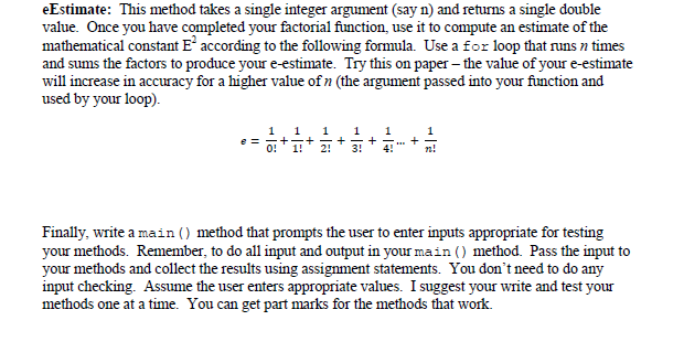 eEstimate: This method takes a single integer argu