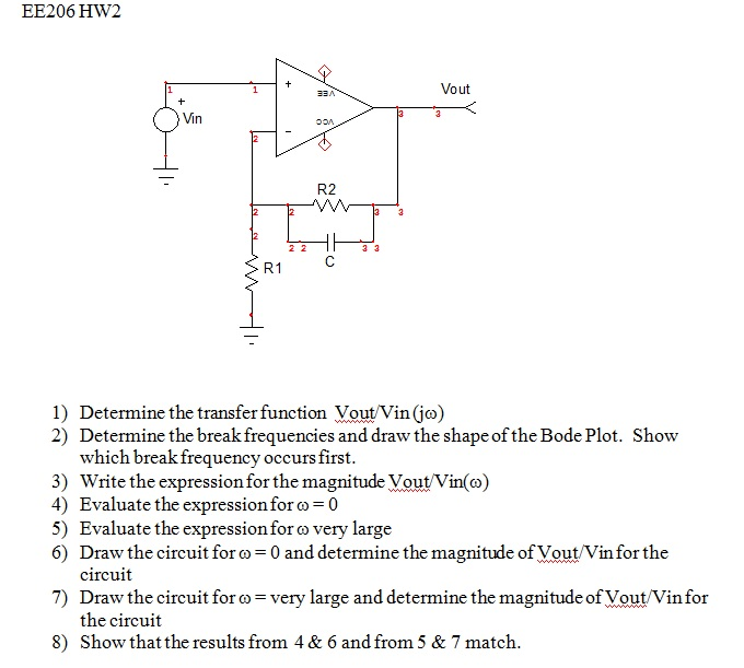 Determine the transfer function Vout/Vin(j omega)