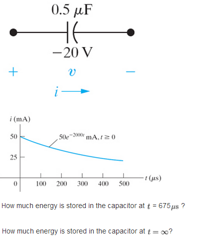 How much energy is stored in the capacitor at t =