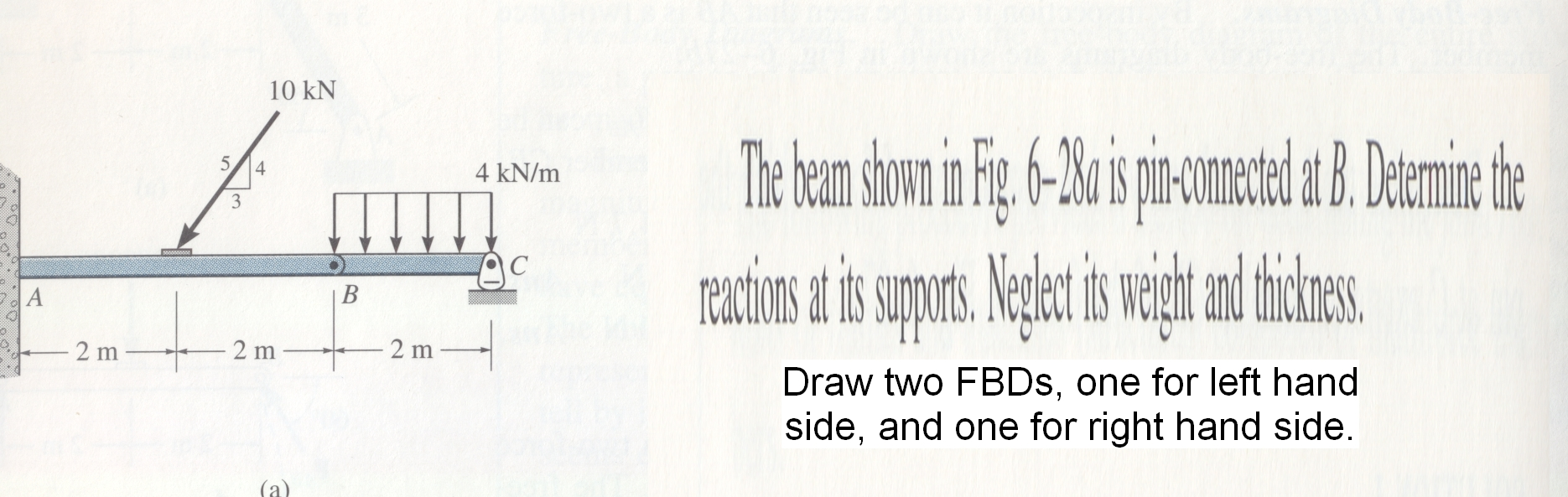 Draw two FBDs, one for left hand side, and one for