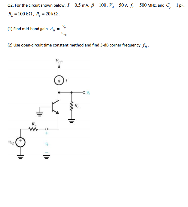 For the circuit shown below, I = 0.5 mA, beta =