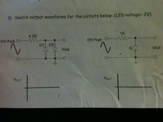 Sketch output waveforms for the circuits below: (L