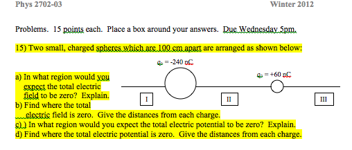 each. Place a box around your answers. Due Wednesd