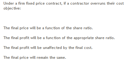 Solved under a firm fixed price contract if a contractor for Fixed price construction contract