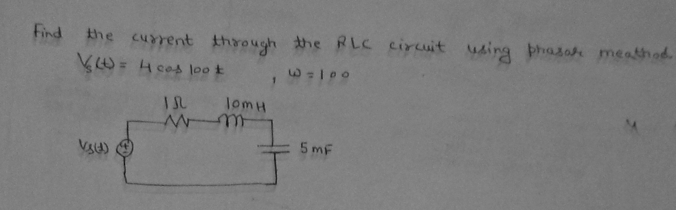Find the current through the RLC circuit using pha