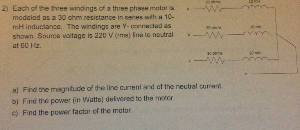 Each of the three windings of a three phase motor
