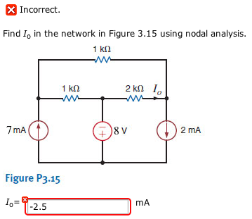 Find I0 in the network in Figure 3.15 using nodal