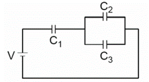 In the circuit shown, three capacitors with C1 = C