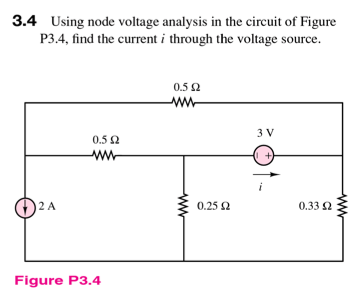 Using node voltage analysis in the circuit of Figu