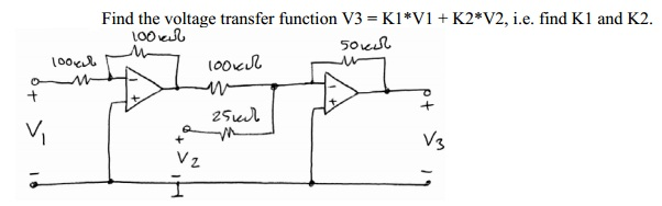 Find the voltage transfer function V3 = K1*V1 + K2