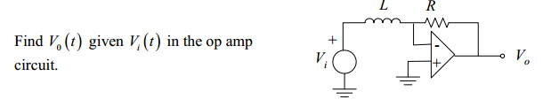 Find V0(t) given Vi(t) in the op amp circuit.