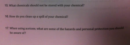 What chemicals should not be stored with your chem
